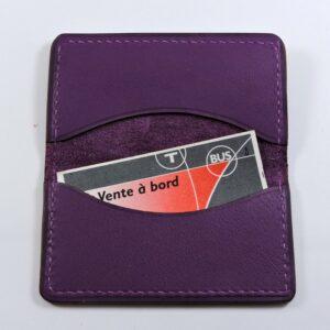porte ticket cuir metro bus paris lyon maroquinerie violet accessoire