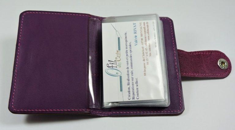 Porte carte fidélités bancaire visites maroquinerie Lyon cuir violet accessoire