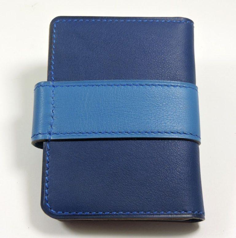 Porte carte fidélités bancaire visites maroquinerie Lyon cuir bleu marine accessoire femme