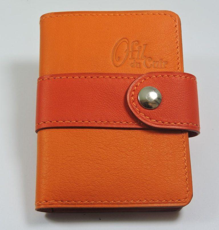 Porte carte fidélités bancaire visites maroquinerie Lyon cuir orange