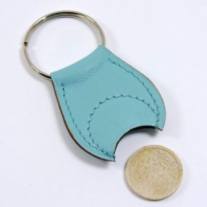 Porte clef cuir jeton caddie bois accessoire maroquinerie Lyon bleu ciel
