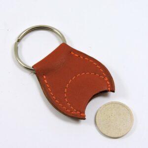 Porte clef cuir jeton caddie bois accessoire maroquinerie Lyon fauve