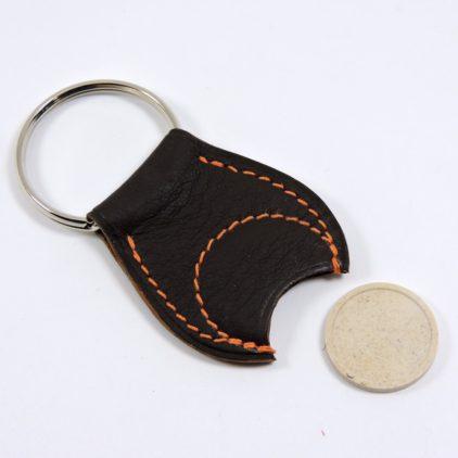 Porte clef cuir jeton caddie bois accessoire maroquinerie Lyon marron
