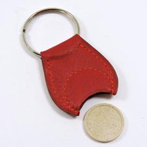 Porte clef cuir jeton caddie bois accessoire maroquinerie Lyon rouge