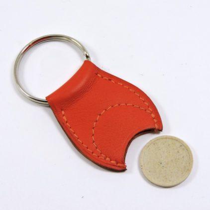 Porte clef cuir jeton caddie bois maroquinerie Lyon rouge orange