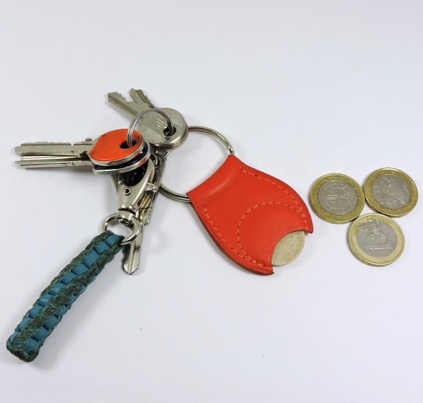 Porte clef cuir jeton caddie bois accessoire maroquinerie Lyon rouge orange