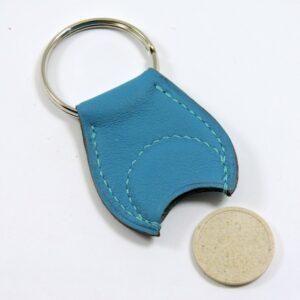 Porte clef cuir jeton caddie bois accessoire maroquinerie Lyon bleu turquoise