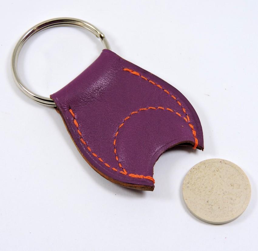 Porte clef cuir jeton caddie bois accessoire maroquinerie Lyon violet