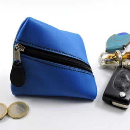 Porte monnaie berlingot maroquinerie Lyon ofilducuir cuir bleu électrique accessoire