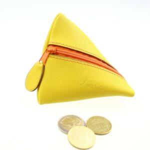 Porte monnaie berlingot maroquinerie Lyon ofilducuir cuir jaune orangé accessoire