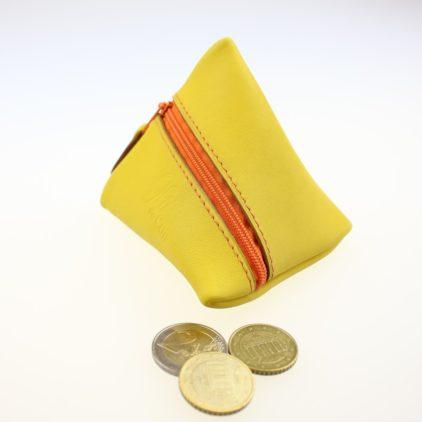 Porte monnaie berlingot maroquinerie Lyon ofilducuir cuir jaune orangé