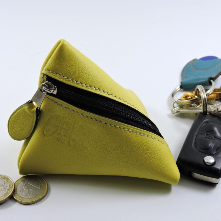 Porte monnaie berlingot maroquinerie Lyon ofilducuir cuir jaune homme