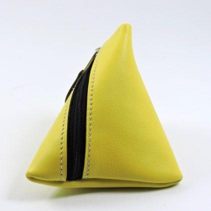 Porte monnaie berlingot maroquinerie Lyon ofilducuir cuir jaune