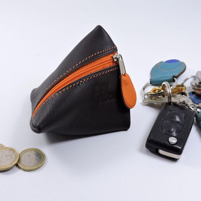 Porte monnaie berlingot maroquinerie Lyon ofilducuir cuir marron orange