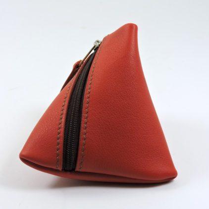 Porte monnaie berlingot maroquinerie Lyon ofilducuir cuir rouge