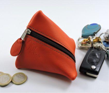 Porte monnaie berlingot maroquinerie Lyon ofilducuir cuir rouge orangé homme
