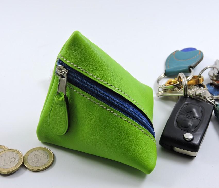 Porte monnaie berlingot maroquinerie Lyon ofilducuir cuir vert anis accessoire
