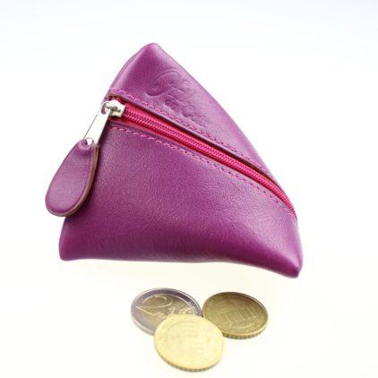 Porte monnaie berlingot maroquinerie Lyon ofilducuir cuir violet femme