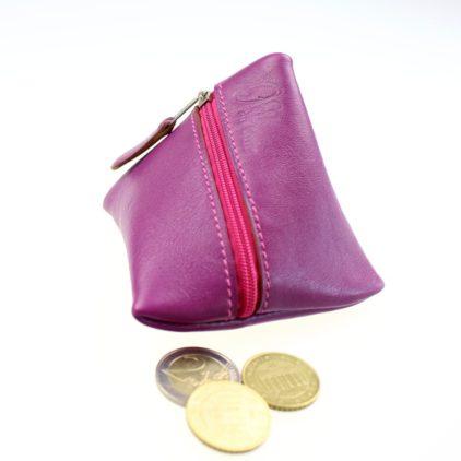 Porte monnaie berlingot maroquinerie Lyon ofilducuir cuir violet