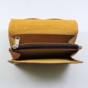 Porte monnaie cartes bancaires papier maroquinerie Lyon femme cuir camel portefeuille