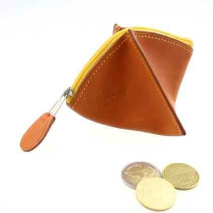Porte monnaie cuir fauve femme maroquinerie Lyon jaune