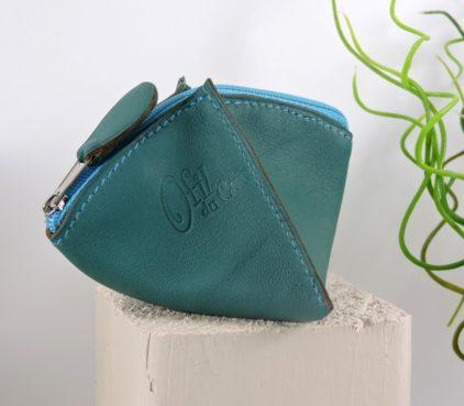 Porte monnaie cuir vert femme maroquinerie Lyon turquoise