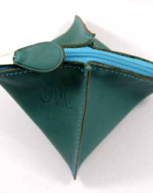 Porte monnaie cuir vert femme maroquinerie Lyon