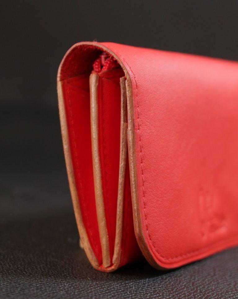 Porte monnaie cuir rouge maroquinerie lyon accessoires