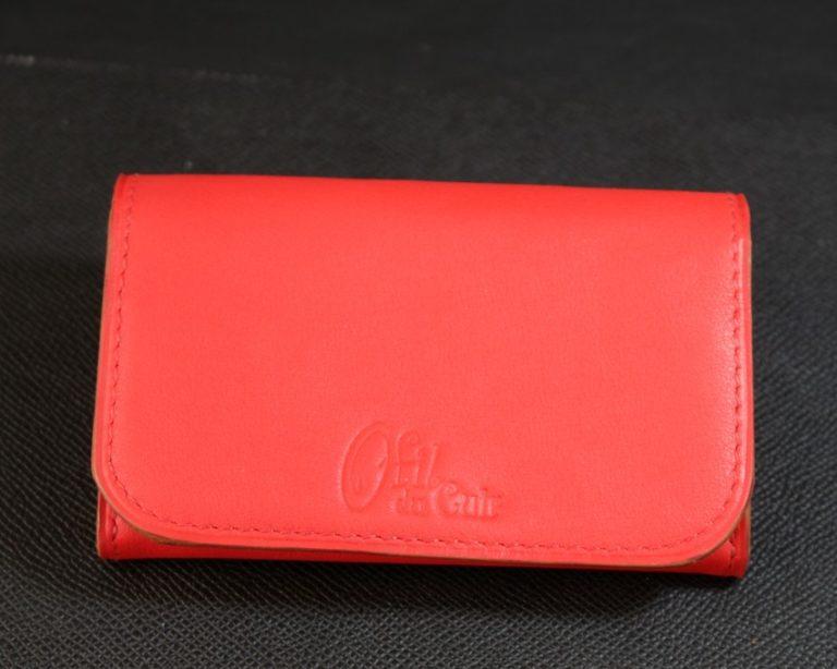 Porte monnaie cuir rouge maroquinerie ofilducuir