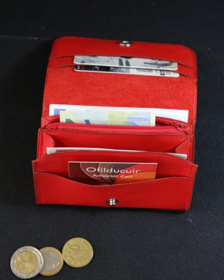 Porte monnaie cuir rouge ofilducuir
