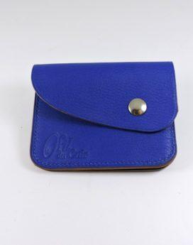 Porte monnaie cartes bancaires cuir-maroquinerie Lyon bleu saphir femme