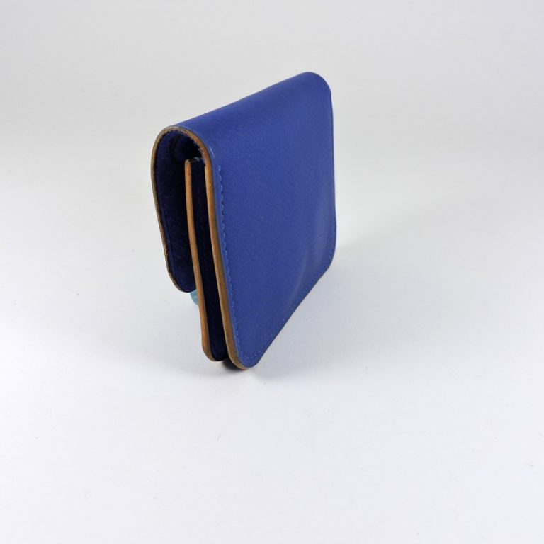 Porte monnaie cartes bancaires cuir-maroquinerie Lyon homme bleu saphir