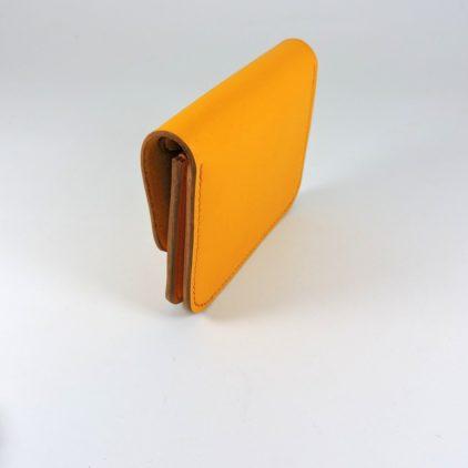 Porte monnaie cartes bancaires cuir-maroquinerie Lyon homme jaune orangé
