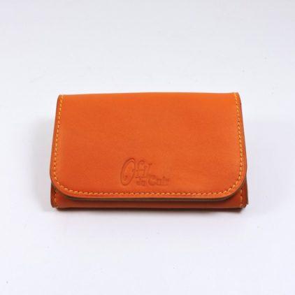 Porte monnaie cartes bancaires papier maroquinerie Lyon femme cuir orange portefeuille