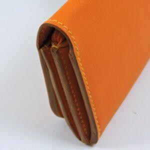 Porte monnaie cartes bancaires papier maroquinerie Lyon femme cuir orange