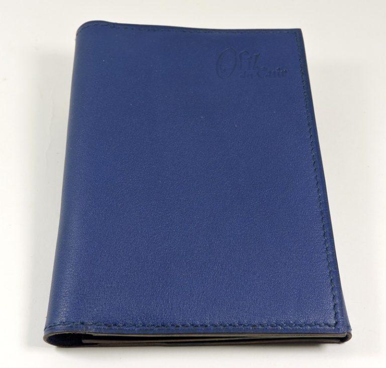 Portefeuille cuir maroquinerie Lyon homme bleu marine