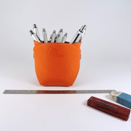 pot-crayon-cuir-ofilducuir-maroquinerie-lyon-orange