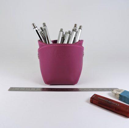 pot crayons stylos cuir violet maroquinerie Lyon