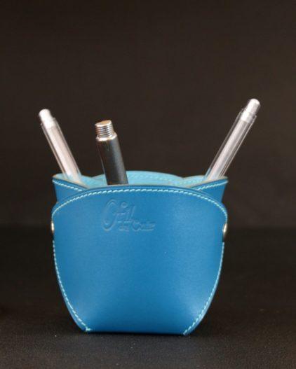 Pot crayons cuir bleu turquoise élégant bureau accessoire ofilducuir