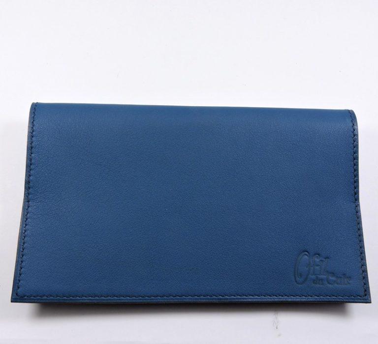 Protège chéquier cuir accessoire maroquinerie Lyon cuir bleu