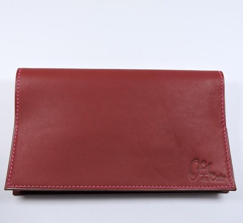 Protège chéquier cuir accessoire maroquinerie Lyon cuir bordeaux