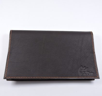 Protège chéquier cuir accessoire maroquinerie Lyon cuir marron