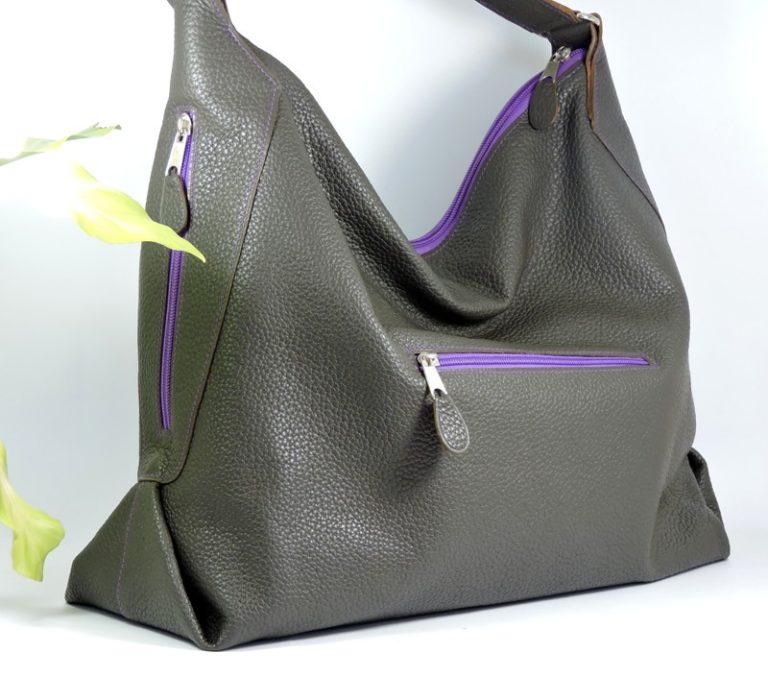 sac main cuir graine gris femme maroquinerie lyon