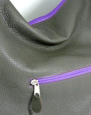sac main cuir graine gris femme lyon maroquinerie