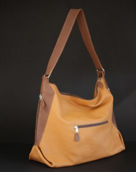 sac main cuir bicolore camel maroquinerie lyon femme