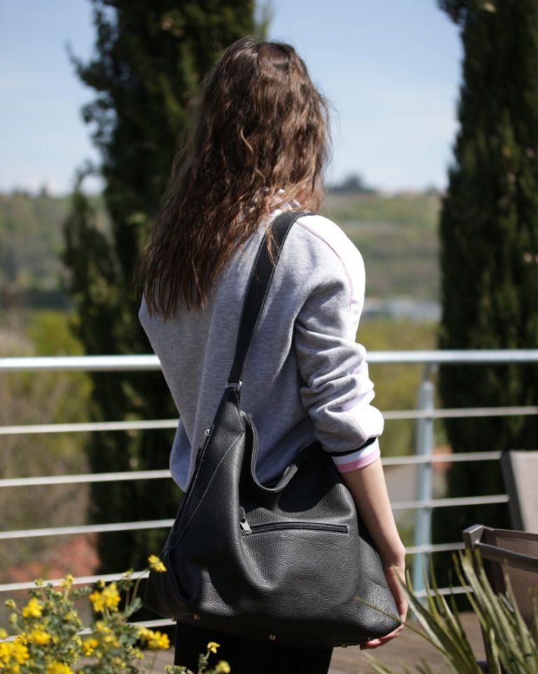 sac femme cuir graine noir maroquinerie haute gamme lyon ofilducuir
