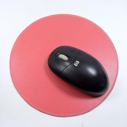 tapis souris ordinateur bureau cuir maroquinerie Lyon rose