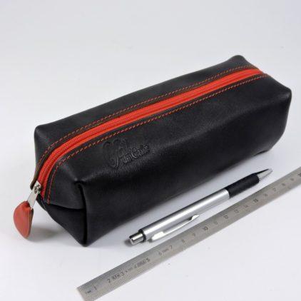 Trousse carrée stylos crayons école maroquinerie Lyon cuir bicolore