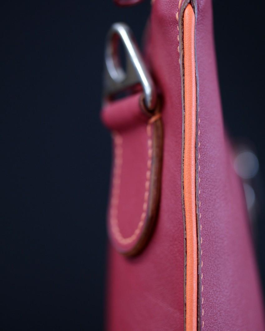 Sac main pochette cuir bordeaux orange maroquinerie Lyon