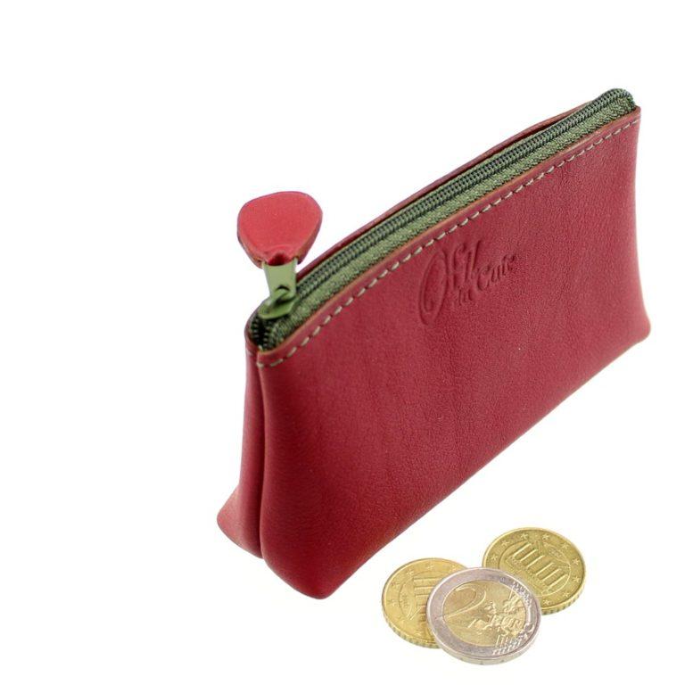 Porte monnaie ofilducuir cuir borbeaux kaki pochette maroquinerie Lyon femme